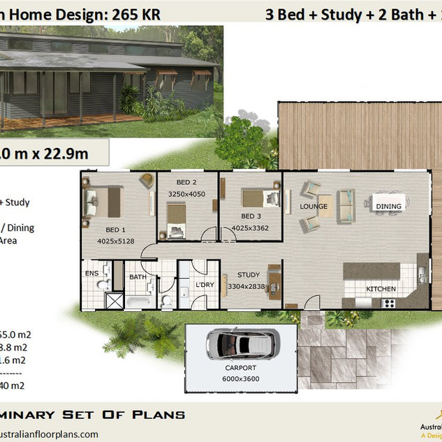3 Bed + Study House Plan265KR