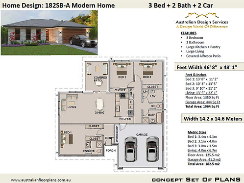182 SB-3 Bed + Garage Plan:182.5 m2 | Preliminary House Plan Set
