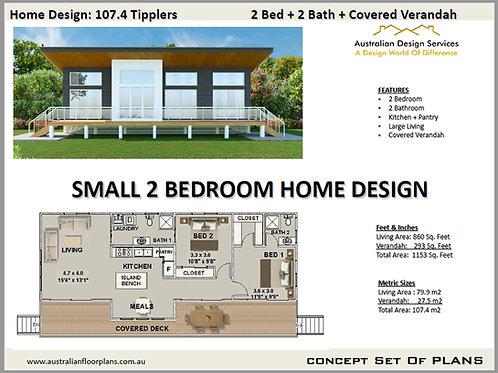2 Bedroom Home Design: 107.4 Tipplers