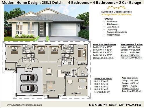 4 Bedroom  Bathrooms Modern House Plans : 233.1 Dutch