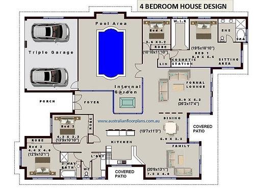 Internal Pool - 4 Bedroom house plans- Full Concept Plans For Sale