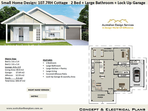Small 2 Bed Home Design: 107.7RH Cottage