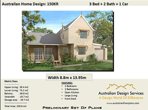 150 KR Hamptons | Narrow 3 Bed + 2 Bath :150.3 m2  | Preliminary House Plans
