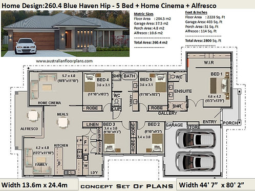 Australian 5 Bedroom House Plans : 260.4 m2  | Preliminary House Plan Set