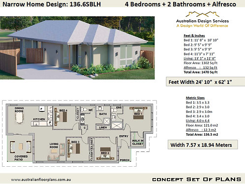 Narrow Lot 4 Bedroom House Plans Design:136.6SBLH