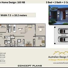 3 Bedroom House Plan163 narrow