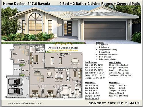 Modern House Plan 4 Bedroom: 247.6 Bayada