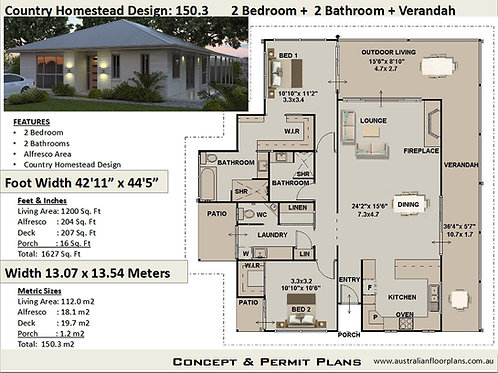 Country Homestead Acreage Home Design : 150.3 m2 | 1200 sq. foot
