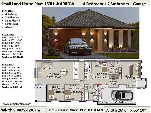 150LH -Narrow Lot 4 Bed + Garage:149.8 m2 | Preliminary House Plan Set