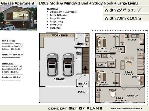 2 Bed + Study Garage Mork & Mindy House Plan:149.3m2 - 1606 sq foot  | Plans