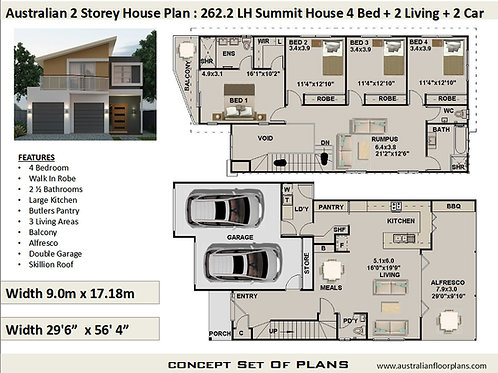 262.2LH Summit House Narrow 2 Storey 4 Bed+ 2.5Bath | Preliminary Home P