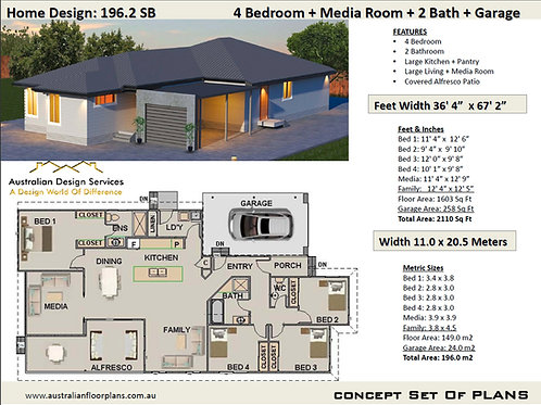 4 Bed House Plan on raised foundation | 196.2SB