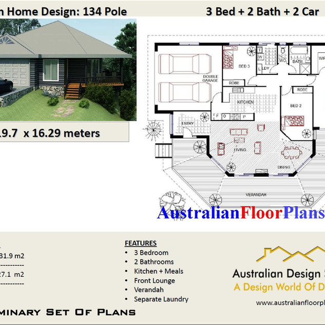 134 pole 3 Bed + Garage Pole Home Plan