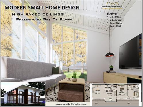 Skillion Roof -2 Bed + 2 Bath Granny Flat:101.2 m2 | Preliminary House Plan Set