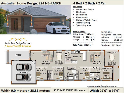 NARROR LOT - simple four bedroom house plans | 224 Ranch House Plans