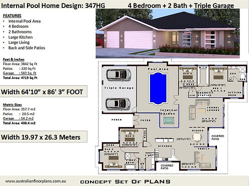 Exclusive 4 Bedroom House Plans:347HG | Preliminary House Plan Set