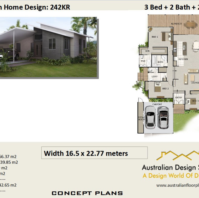 Sloping Land 3 Bed House Plan242KR