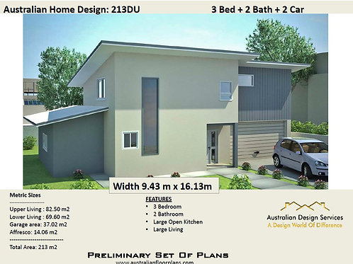 213 DU | Narrow Lot 2 Storey 3 Bed + Study :213.67 m2  | Preliminary House Plans