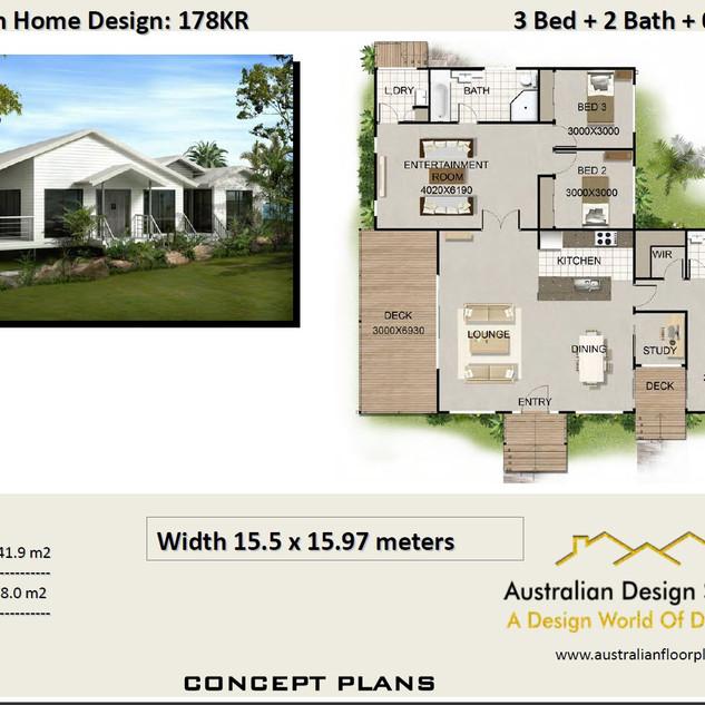 3 Bedroom + Study House Plan178KR