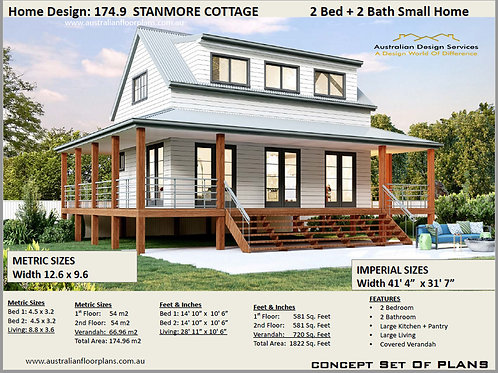 Plans For Sale  Country 2 Bed House Home Design: 174.9