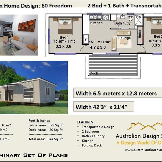 60 Freedoom 60 Cottage Free 2 Bed House Plan Australia