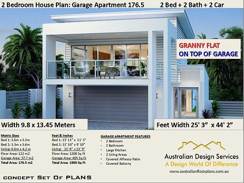 2 Bed + Study Garage Apartment House Plan:176.5m2  | Concept Hous