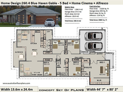 5 Bedroom House Plans : 260.4 m2  | Preliminary House Plan Set