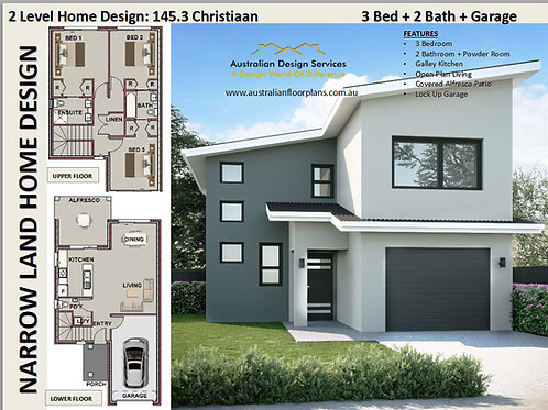 Modern Narrow Lot House Plans : 143.5