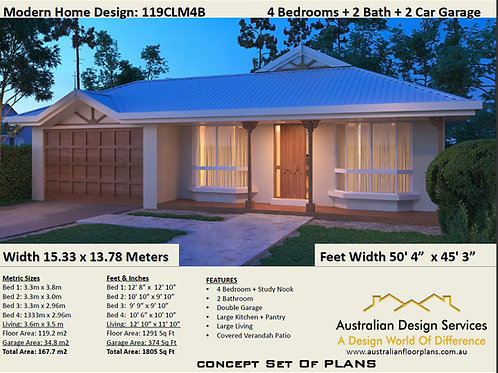 4 Bed + Study Nook + Double Garage Plan House Plans 119 CLM4bed- Sale