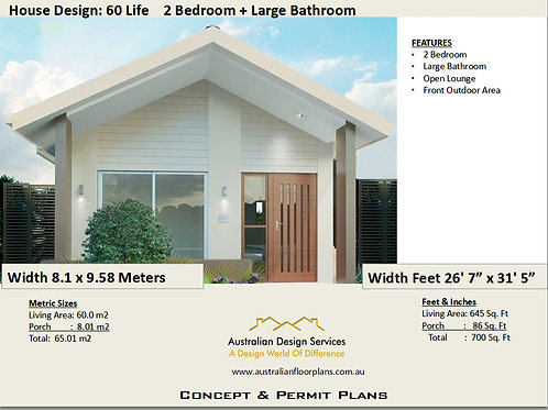 Modern 2 Bedroom House Plan:60 m2- 700 Sq. Foot | 60 Life  House Plan Set- Buy