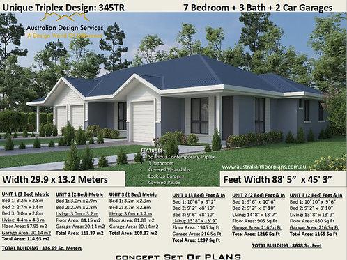 345 DU | 7 Bed x 3 Bath x 3 Car: 336.69m2  | Triplex Design Preliminary Plans