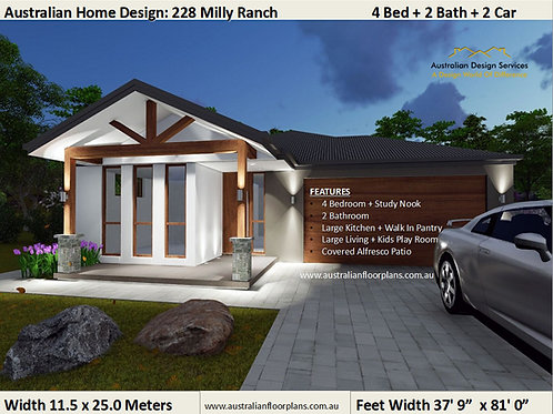 Modern 4 Bedroom House Plan:  228 Milly Ranch