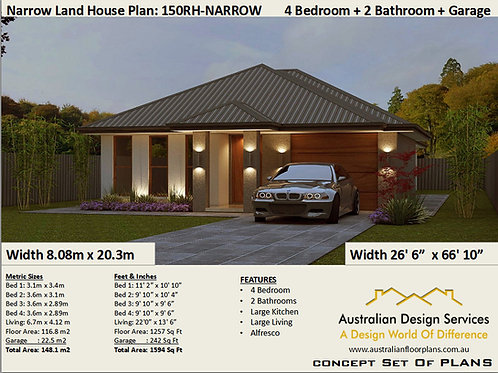150RH -Narrow Lot 4 Bed + Garage:149.8 m2 | Preliminary House Plan Set
