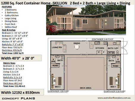 Shipping Container home combination of 1/40 foot and 2/20 foot containers