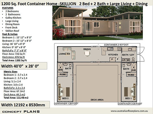 Shipping Container house plans:1200 Skillion  | Concept Home Plan
