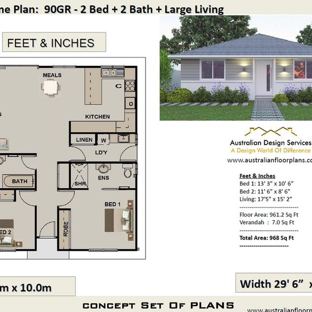 90gr-Free 2 Bed House Plan Australia