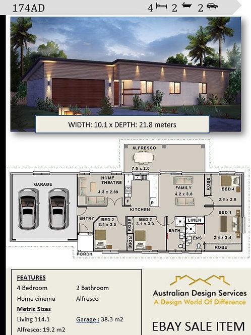 Narrow 10.1 metre frontage house design  | 174AD House Plan Set