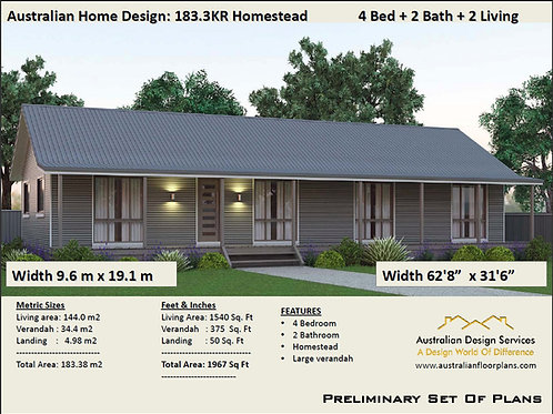 4 BEDROOM ! Australian Ranch Style House Plans | 183.3KRLH  House Plan