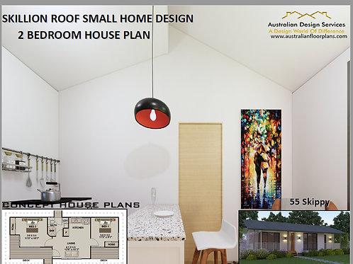 2 Bed small House Plan- 55.0 m2 | Preliminary House Plan Set-4 Sal 55 Skippy