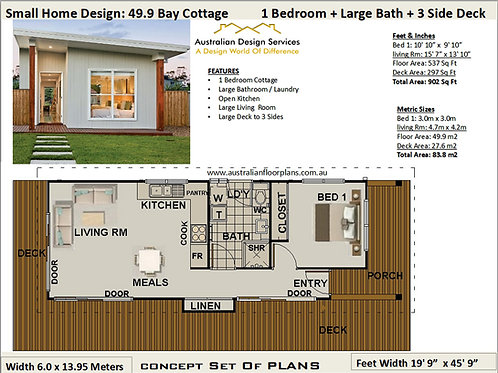 Cottage House Plan, 537 sq feet or 49.9 m2