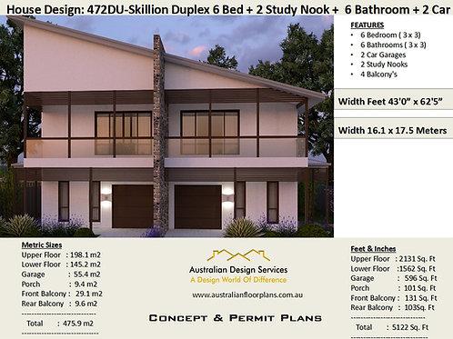 472DU Skillion Duplex / Townhouse design | Concept House Plans