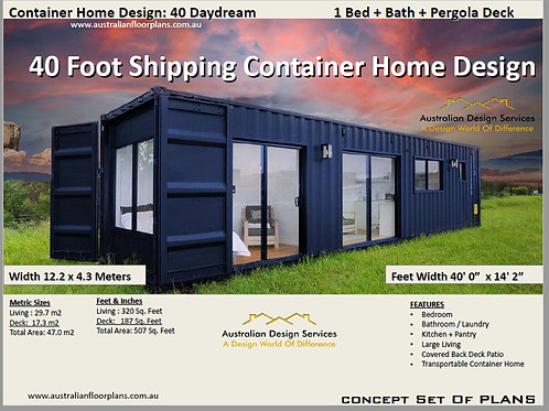 Shipping Container Home plans:  40 Daydream