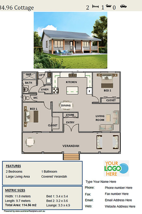 Country Home Design: 84.90LH