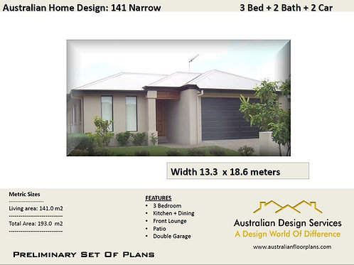 141 Narrow - 3 Bed + Garage Plan :193.0 m2 | Preliminary House Plan Set