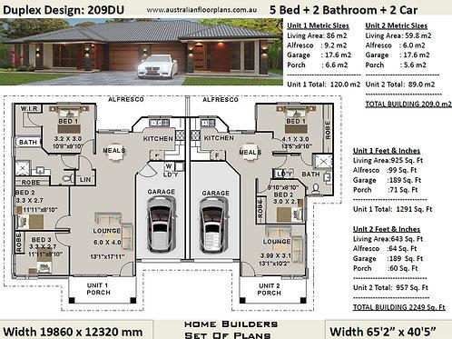 209DU | 5 Bed + Garage: 196.0m2  | Duplex Design- Full Builders House Plan Set