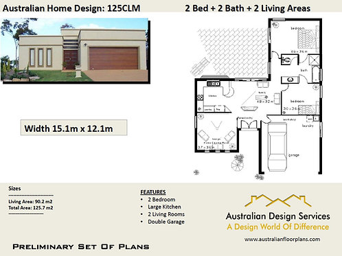 126 CLM-3 Bed + Garage House Plan:126.0 m2 | Preliminary House Plan Set Sale