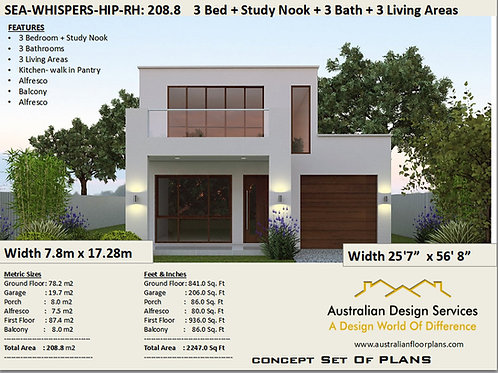 Modern Narrow Lot 2 story home design RH | Preliminary House Plans