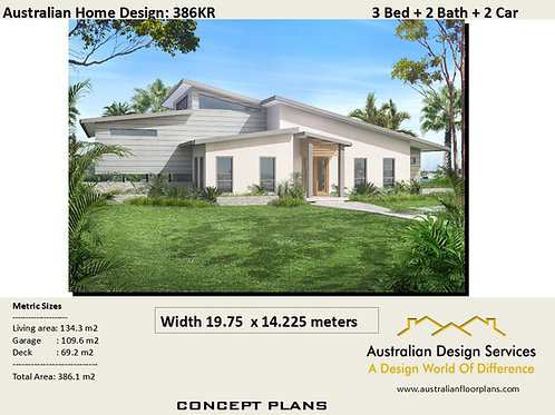 386 KR - 3 Bed Raised House Plan :386.0 m2 | Preliminary House Plan