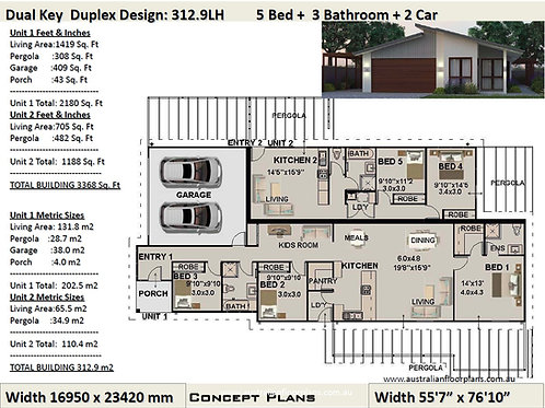 Dual Key Skillion Roof 5 Bed + 3 Bath + 2 Cars Duplex Design - Concept Plans