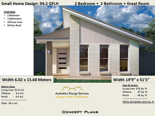 2 Bed + 2 Bath Small House Plan:94.2GFLH | Concept House Plan Set